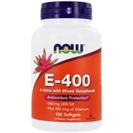 NOW Foods - E-400 20% Mixed + Selenium - 100 Softgels (733739009067)