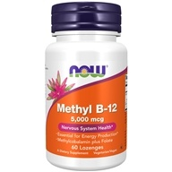 NOW Foods - Methyl B12 with Folic Acid 5000 mcg. - 60 Lozenges