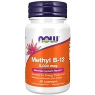 NOW Foods - Methyl B-12 with Folic Acid 5000 mcg. - 60 Lozenges, from category: Vitamins & Minerals