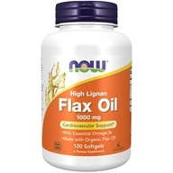 NOW Foods - High Lignan Flax Oil Organic Non-GE 1000 mg. - 120 Softgels, from category: Nutritional Supplements
