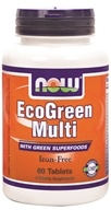 NOW Foods - Eco-Green Multi with Green Superfoods Iron-Free - 60 Tablets - $13.19