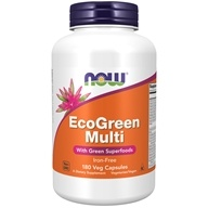 NOW Foods - Eco-Green Multi with Green Superfoods Iron-Free - 180 Vegetarian Capsules (733739037886)