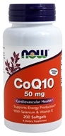 NOW Foods - CoQ10 Cardiovascular Health with Selenium and Vitamin E 50 mg. - 200 Softgels - $29.96