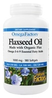 Image of Natural Factors - OmegaFactors Flaxseed Oil Made with Organic Flax 1000 mg. - 180 Softgels
