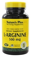 Nature's Plus - L-Arginine Free Form Amino Acid 500 mg. - 90 Vegetarian Capsules (097467052017)