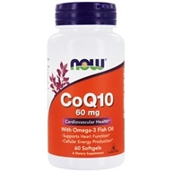 Image of NOW Foods - CoQ10 Cardiovascular Health with Omega-3 Fish Oil 60 mg. - 60 Softgels