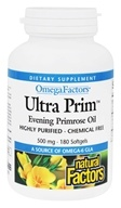 Natural Factors - UltraPrim OmegaFactors Evening Primrose Oil 500 mg - 180 Softgels CLEARANCE PRICED (068958023564)