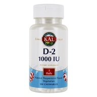 Kal - Vitamin D-2 Natural Peppermint Flavor 1000 IU - 100 Chewable Tablets (021245131779)