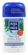 Image of Kiss My Face - Natural Active Life Deodorant Stick Aluminum Free Fragrance Free - 2.48 oz.