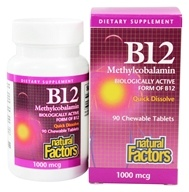 B12 Methylcobalamin Chewable 1000 mcg. - 90 Chewable Tablets by Natural Factors