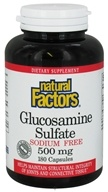 Natural Factors - Glucosamine Sulfate Sodium Free 500 mg. - 180 Capsules by Natural Factors