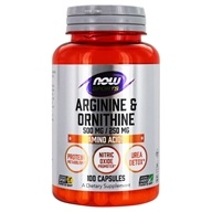 NOW Foods - L-Arginine and Ornithine 500/250 mg - 100 Capsules, from category: Nutritional Supplements