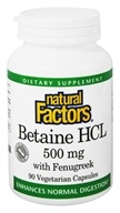 Natural Factors - Betaine Hydrochloride (HCL) - 90 Capsules (068958017204)