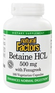 Natural Factors - Betaine Hydrochloride (HCL) - 180 Capsules (068958017211)