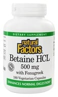 Image of Natural Factors - Betaine Hydrochloride (HCL) - 180 Capsules