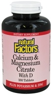 Natural Factors - Calcium & Magnesium Citrate With D - 180 Tablets - $15.57