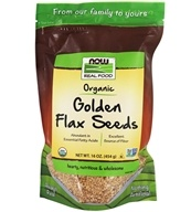 NOW Foods - Golden Flax Seeds Organic Non-GE - 16 oz. (733739062680)