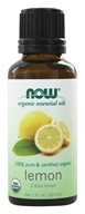 NOW Foods - 100% Pure & Organic Essential Oil Lemon - 1 fl. oz.