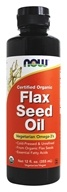 Image of NOW Foods - Flax Seed Oil Organic Non-GE - 12 oz.