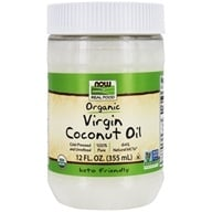 NOW Foods - Certified Organic Virgin Coconut Oil Cold Pressed & Unrefined - 12 oz. (733739017253)