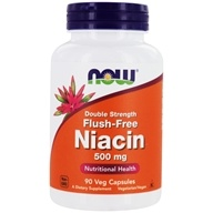 NOW Foods - Niacin Flush-Free Double Strength 500 mg. - 90 Vegetarian Capsules (733739004987)