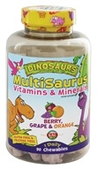 Kal - Dinosaurs MultiSaurus Vitamins & Minerals For Kids Berry, Grape & Orange - 90 Chewable Tablets