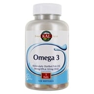 Kal - Omega-3 Molecularly Distilled Fish Oil - 120 Softgels (021245840121)