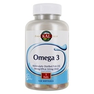 Kal - Omega-3 Molecularly Distilled Fish Oil - 120 Softgels by Kal
