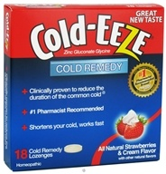 Image of Cold-Eeze - Zinc Gluconate Glycine Cold Remedy All Natural Strawberries & Cream - 18 Lozenges Formerly by Quigley