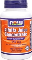 NOW Foods - Alfalfa Juice Concentrate 650 mg. - 180 Vegetarian Capsules