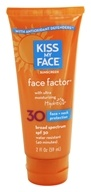 Kiss My Face - Face Factor Face + Neck Water-Resistant Sunscreen Paraben-Free 30 SPF - 2 oz. by Kiss My Face