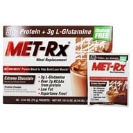 MET-Rx - Meal Replacement Protein Powder - 40 x 2.54 oz.(72g) Packets Extreme Chocolate