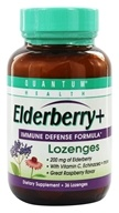 Quantum Health - Elderberry Immune Defense Lozenges Great Raspberry Taste - 36 Lozenges (046985016278)