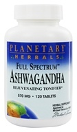 Image of Planetary Herbals - Ashwagandha (Winter Cherry) Full Spectrum 570 mg. - 120 Tablets Formerly Planetary Formulas