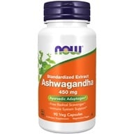 NOW Foods - Ashwagandha 4.5 Pct. Extract 450 mg. - 90 Vegetarian Capsules (733739046031)