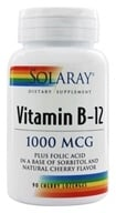 Image of Solaray - Vitamin B-12 Plus Folic Acid Natural Cherry Flavor 1000 mcg. - 90 Lozenges