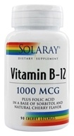 Solaray - Vitamin B-12 Plus Folic Acid Natural Cherry Flavor 1000 mcg. - 90 Lozenges by Solaray