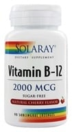 Solaray - Vitamin B-12 Sugar Free Natural Cherry Flavor 2000 mcg. - 90 Lozenges by Solaray