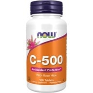 NOW Foods - Vitamin C-500 with Rose Hips Vegetarian/Vegan - 100 Tablets (733739006707)