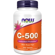 Image of NOW Foods - Vitamin C-500 with Rose Hips Vegetarian/Vegan - 250 Tablets