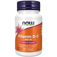NOW Foods - Vitamin D 400 IU - 180 Softgels, from category: Vitamins & Minerals