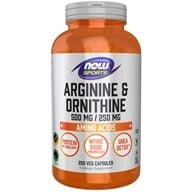 NOW Foods - Arginine & Orthinine 500/250 mg - 250 Capsules, from category: Nutritional Supplements