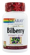 Solaray - Guaranteed Potency Bilberry Extract 42 mg. - 60 Capsules, from category: Herbs