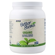 NOW Foods - Better Stevia Zero Calorie Sweetener Certified Organic Extract Powder - 1 lb. Formerly Extract