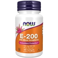 NOW Foods - Vitamin E- Mixed Tocopherols/Unesterified 200 IU - 100 Softgels (733739008800)