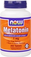 NOW Foods - Melatonin with B3, B6, & Magnesium - Timed-Release, Vegetarian 1 mg. - 250 Tablets