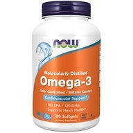 NOW Foods - Omega-3 Enteric Coated Odor Controlled Molecularly Distilled 1000 mg. - 180 Softgels (733739016577)