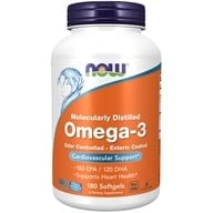 Image of NOW Foods - Omega-3 Enteric Coated Odor Controlled Molecularly Distilled 1000 mg. - 180 Softgels