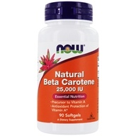 NOW Foods - Beta Carotene (Natural) D. salina with Mixed Carotenoids 25000 IU - 90 Softgels (733739003201)
