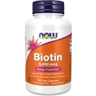 NOW Foods - Biotin 5000 mcg. - 120 Vegetarian Capsules (733739004741)